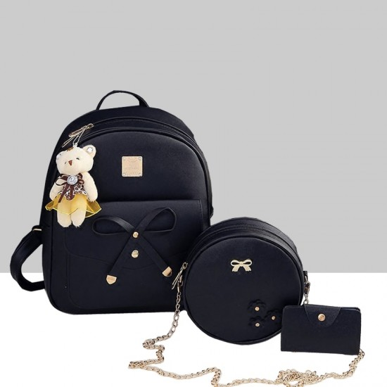 European Style Backpack With One Handbag and Wallet WB-86BK image