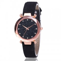 Black Leather Strappy Glittered Analogue Watch W-22BK