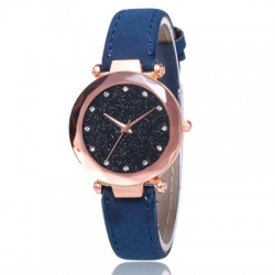 Blue Leather Strappy Glittered Analogue Watch W-22BL