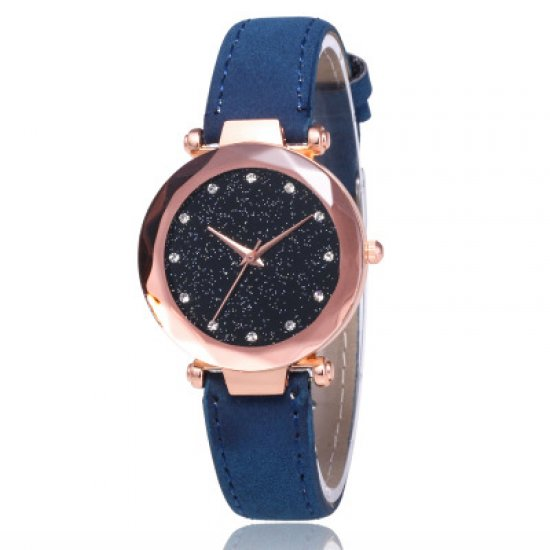 Blue Leather Strappy Glittered Analogue Watch W-22BL image