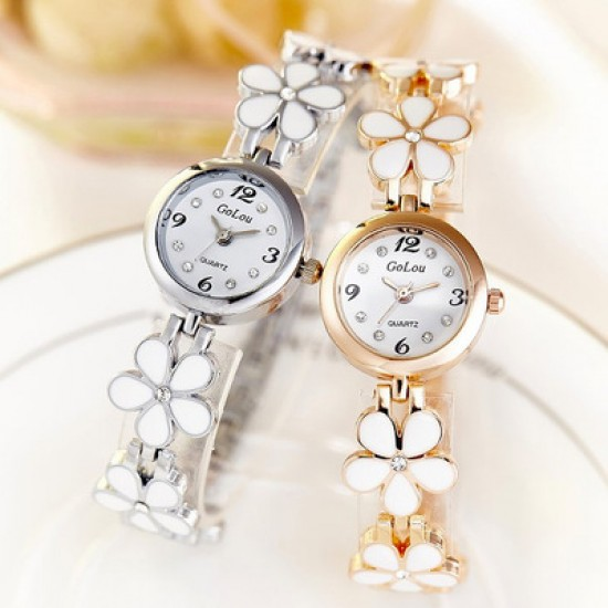 Designer Floral Style Golden Wrist Analogue Watch W-25GL |image