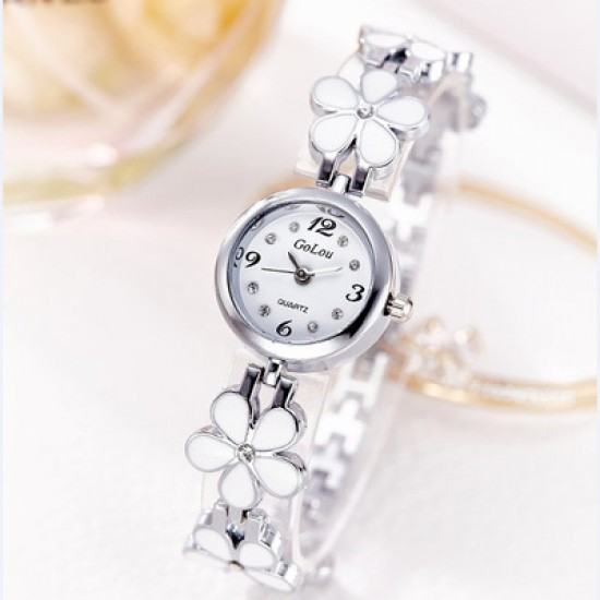 Designer Floral Style Silver Wrist Analogue Watch W-25SL |image