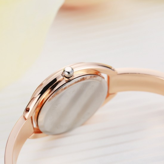 Rose Gold with White Dial Solid Strap Wrist Watch W-27RG |image