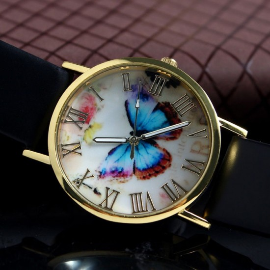 Butterfly Printed Golden Dial Leather Strap Bracelet watch W-29BK |image