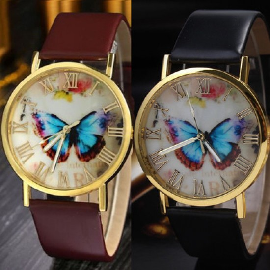 Butterfly Printed Golden Dial Leather Strap Bracelet Watch W-29BR  image