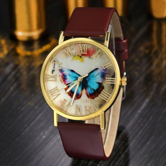 Butterfly Printed Golden Dial Leather Strap Bracelet Watch W-29BR |image
