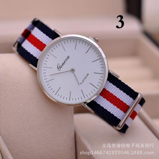 Geneva Brand Unisex Nylon Strap Watch W-31RH |image