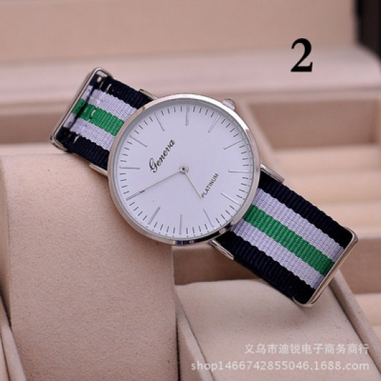 Geneva Brand Unisex Nylon Strap Watch W-31GH |image