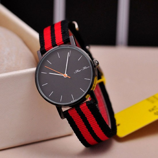 Black with Red Contrast Canvas Strap Wrist Watch W-32BK |image