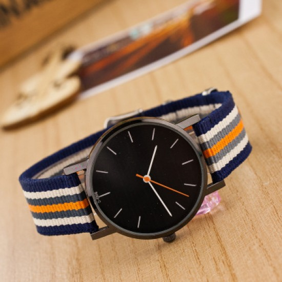 Blue with Orange Contrast Canvas Strap Wrist Watch W-32BL |image