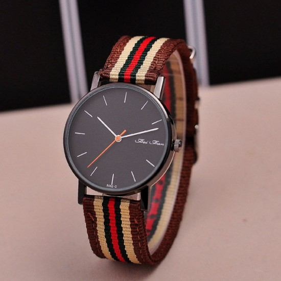 Brown with White Contrast Canvas Strap Wrist Watch W-32BR |image