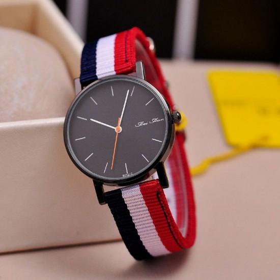 Multi Colors Contrast Canvas Strap Wrist Watch W-32W |image