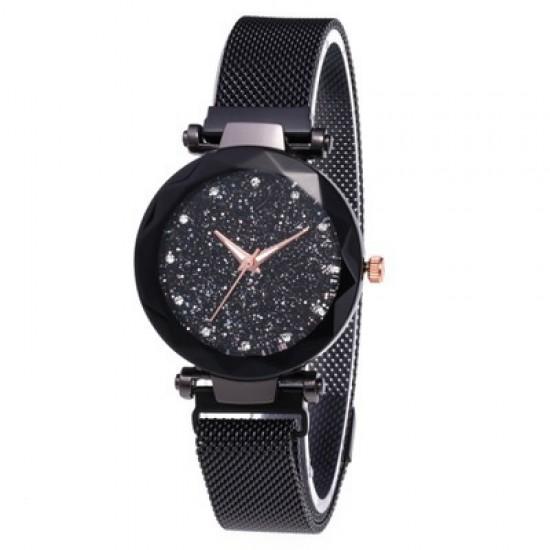 Black Magnetic Strap Sky Diamond Dial Bracelet Watch W-33BK |image