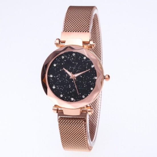 Gold Magnetic Strap Sky Diamond Dial Bracelet Watch W-33G