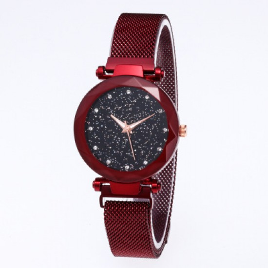 Red Magnetic Strap Sky Diamond Dial Bracelet Watch W-33RD |image
