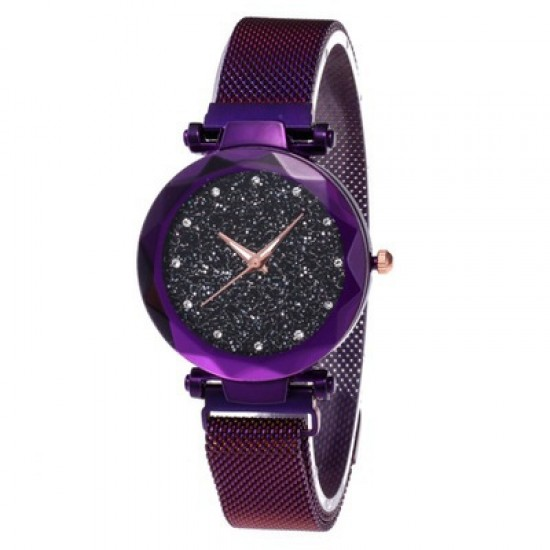 Purple Magnetic Strap Sky Diamond Dial Bracelet Watch W-33PR |image