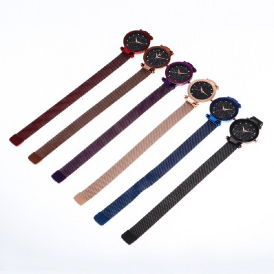 Purple Magnetic Strap Sky Diamond Dial Bracelet Watch W-33PR  image
