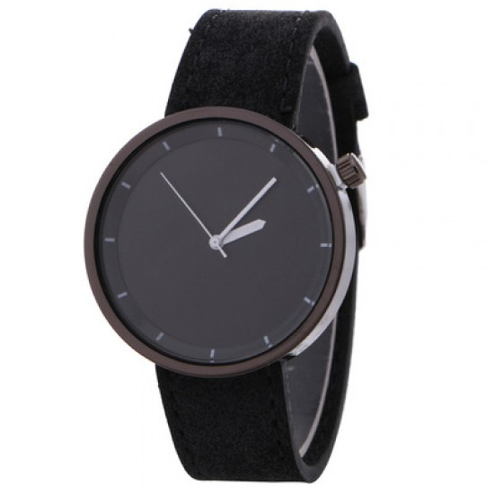 Black Leather Strap Unisex Quartz Wrist Watch W-34BK |image