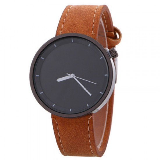 Brown Leather Strap Unisex Quartz Wrist Watch W-34BR |image