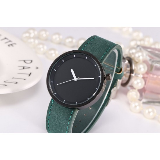 Green Leather Strap Unisex Quartz Wrist Watch W-34GN |image