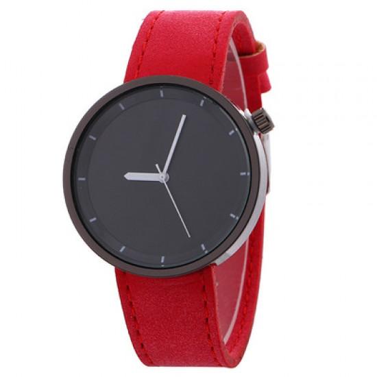 Red Leather Strap Unisex Quartz Wrist Watch W-34RD |image