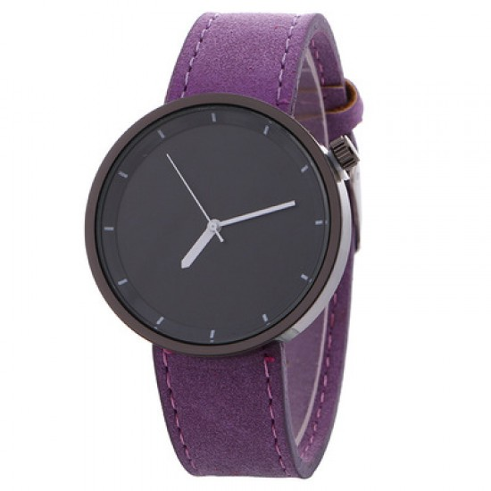 Purple Leather Strap Unisex Quartz Wrist Watch W-34PR |image