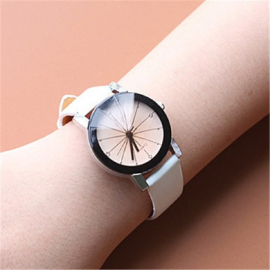 Couple White Leather Strap Analogue Watches W-35W |image