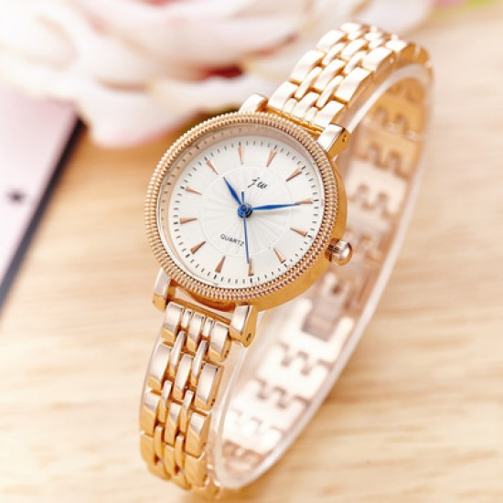 White Dial Gold Stainless Belt Ladies Wrist Watch W-39G |image