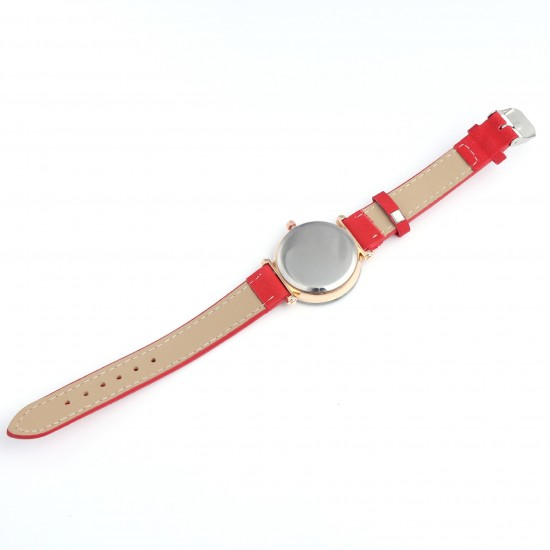 Red Leather Strap Luxury Dial Bracelet Watch W-41RD |image