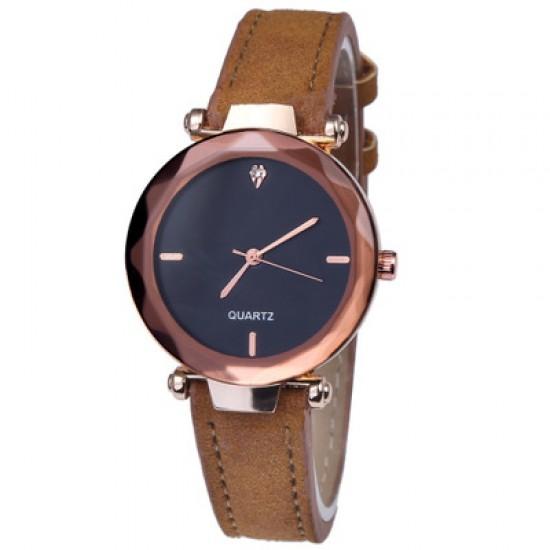 Brown Leather Strap Luxury Dial Bracelet Watch W-41BR |image