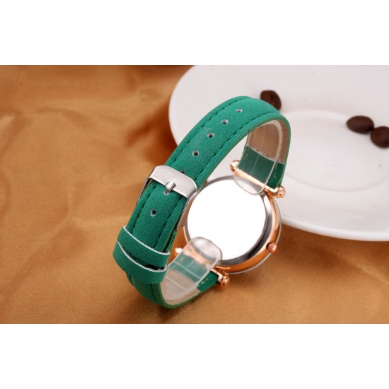 Green Leather Strap Luxury Dial Bracelet Watch W-41GN  image