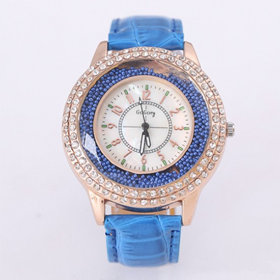 Crystals Decorative Dial Analogue Blue Color Watch W-45BL |image