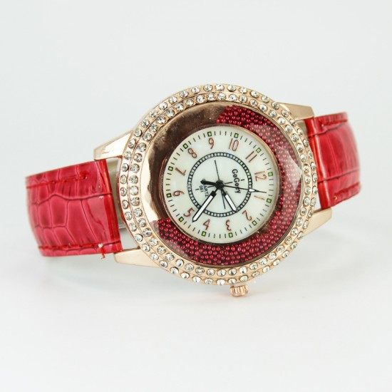 Crystals Decorative Dial Analogue Red Color Watch W-45RD |image
