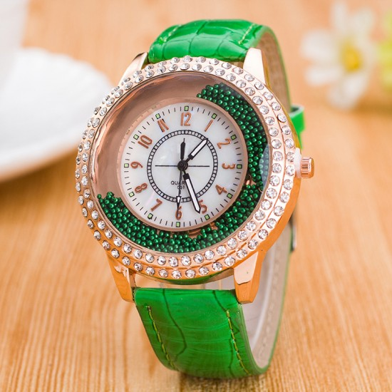 Crystals Decorative Dial Analogue Green Color Watch W-45GN |image