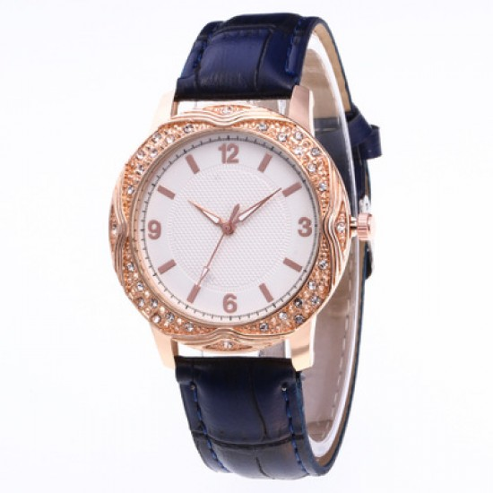 Blue Leather Strap Diamond Dial Bracelet Watch W-47BL |image