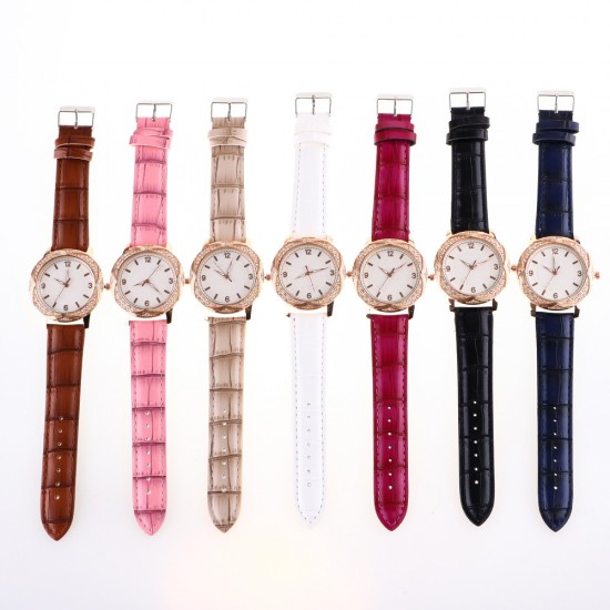 Brown Leather Strap Diamond Dial Bracelet Watch W-47BR |image