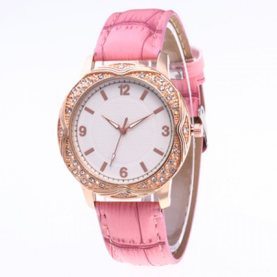Pink Leather Strap Diamond Dial Bracelet Watch W-47PK |image