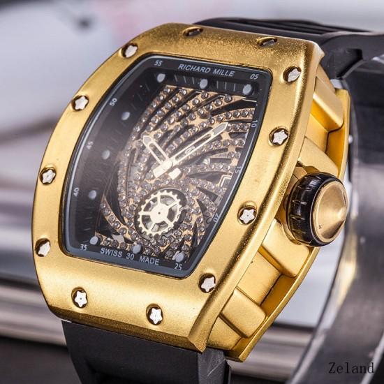 Gold Diamonds Flower Dial Black Silicon Strap Bracelet Watch W-53G |image
