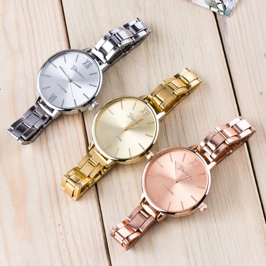 Roman Numbers Rose Gold Stainless Steel Women Wrist Watch W-54RG |image