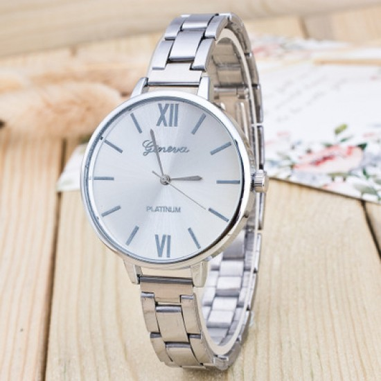 Roman Numbers Silver Stainless Steel Women Wrist Watch W-54S |image