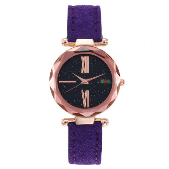 Golden Dial Leather Strapped Analogue Wrist Watch W-56PR image
