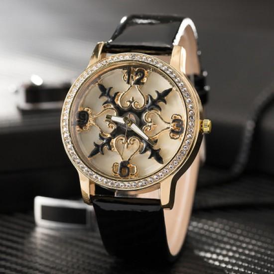 Carved Dial Design Black Leather Strap Wrist Watch W-58BK |image