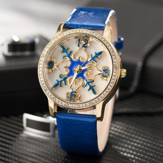 Carved Dial Design Blue Leather Strap Wrist Watch W-58BL |image