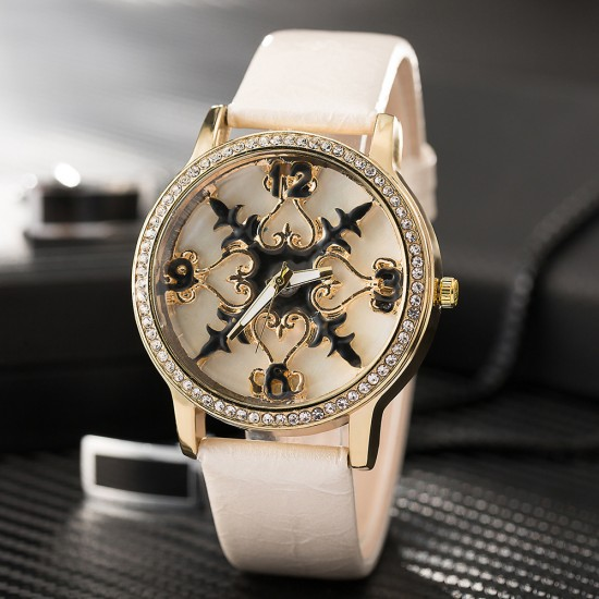 Carved Dial Design Cream Leather Strap Wrist Watch W-58CR |image