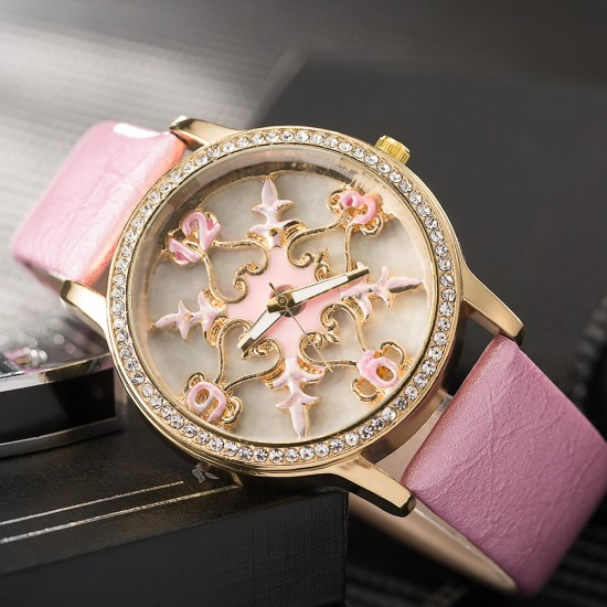 Carved Dial Design Pink Leather Strap Wrist Watch W-58PK |image