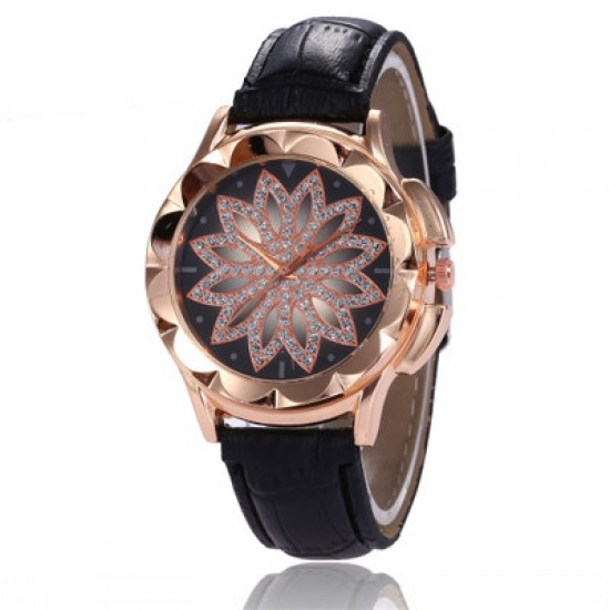 Hollow Floral Dial Design Black Leather Strap Wrist Watch W-59BK |image