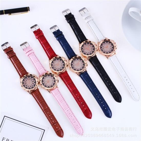 Hollow Floral Dial Design Blue Leather Strap Wrist Watch W-59BL |image