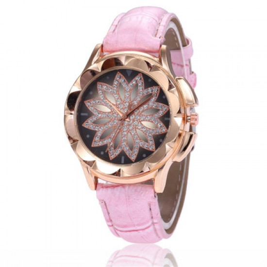 Hollow Floral Dial Design Pink Leather Strap Wrist Watch W-59PK |image
