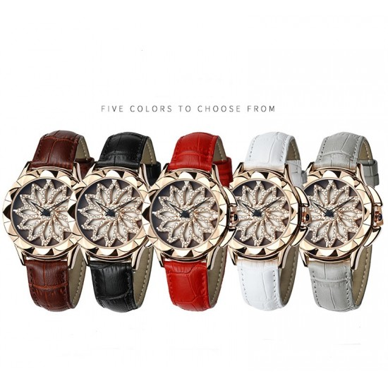 Hollow Floral Dial Design Black Leather Strap Wrist Watch W-59W |image