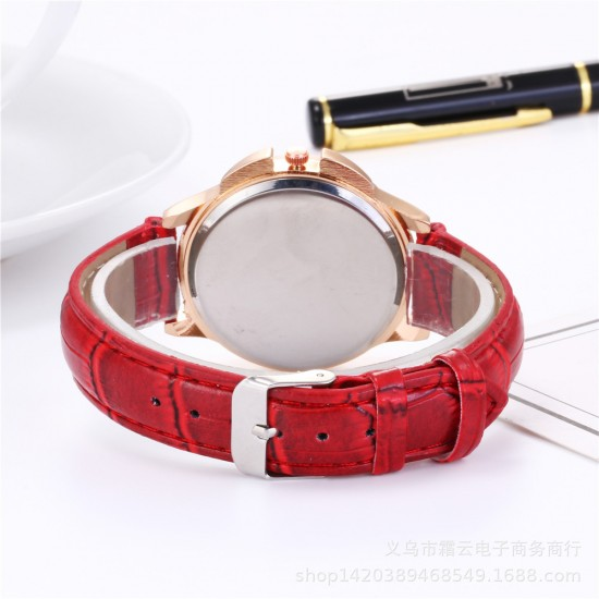 Hollow Floral Dial Design Red Leather Strap Wrist Watch W-59RD |image